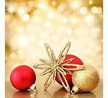 Red X-mas Gold Photographic Print