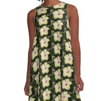 Yellow Hibiscus With Garden Background A-Line Dress