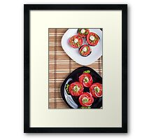 Vegetarian dish of stewed eggplant and fresh tomatoes Framed Print