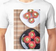 Vegetarian dish of stewed eggplant and fresh tomatoes Unisex T-Shirt