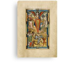 Saint Michael Battling the Dragon (1170 AD) Canvas Print