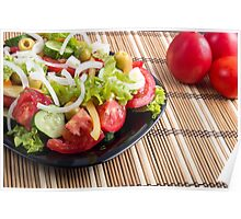 Closeup view fresh natural salad with raw tomato, cucumber, olives Poster