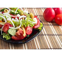 Closeup view fresh natural salad with raw tomato, cucumber, olives Photographic Print
