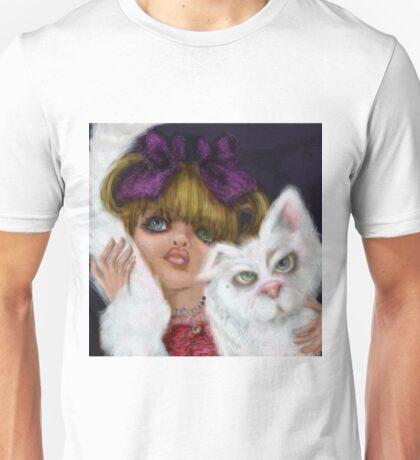 You Can't Say No to Me: a big eyed girl and cat Unisex T-Shirt