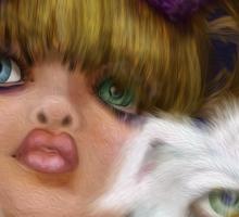 You Can't Say No to Me: a big eyed girl and cat Sticker