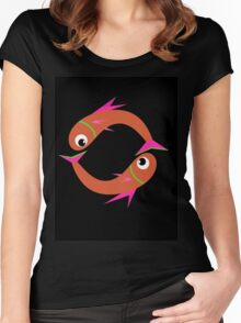 Orange cute fishes Women's Fitted Scoop T-Shirt