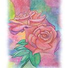 Pink and Mauve Roses Watercolor  by Linda Allan