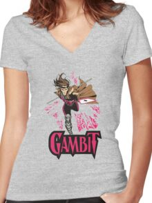 super card magic gambit Women's Fitted V-Neck T-Shirt