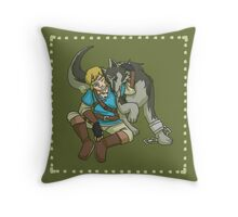 Link and Wolf Link Throw Pillow