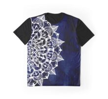 White Lace Medallion on Ink Blue Graphic T-Shirt