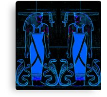 Ancient Egyptian Priests and Cobras in Blue and Black I Canvas Print
