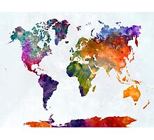 World map in watercolor 26 Photographic Print
