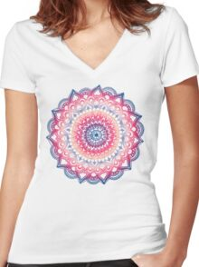 Ocean Sunset Mandala Women's Fitted V-Neck T-Shirt
