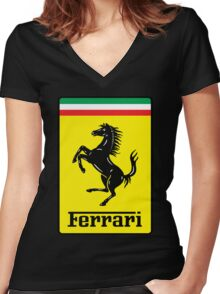 ferrari Women's Fitted V-Neck T-Shirt