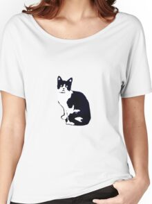 Black & White Cat Women's Relaxed Fit T-Shirt