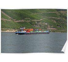 Container Barge Hirschhorn Poster