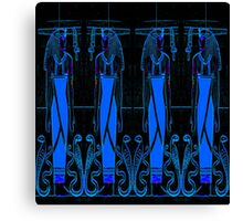 Ancient Egyptian Priests and Cobras in Blue and Black III Canvas Print