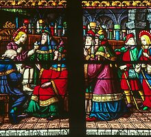 Jesus with elders in temple Cathedral St Etienne Chalons sur Marne France 198405060064 by Fred Mitchell