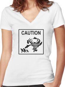 Sharknado Crossing Women's Fitted V-Neck T-Shirt