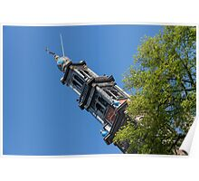 Amsterdam Spring - Blue Crown Westerkerk Bell Tower Above the Trees Poster