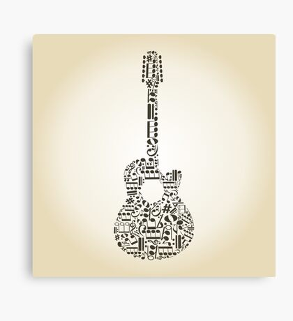 Guitar from notes Canvas Print