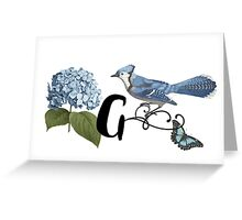 Bluebird Vintage Floral Initial G Greeting Card