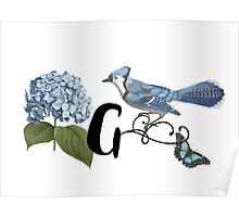 Bluebird Vintage Floral Initial G Poster