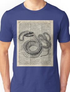 Boa Snake Skeleton,Ink and Pen Anatomy Chart,Vintage Dictionary Art Unisex T-Shirt