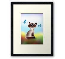 Sly Himalayan Cat & Butterflies Framed Print