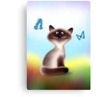 Sly Himalayan Cat & Butterflies Canvas Print
