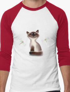 Sly Himalayan Cat & Butterflies Men's Baseball ¾ T-Shirt