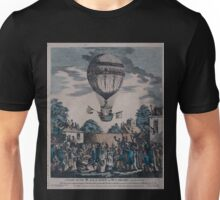 0229 ballooning A view of the balloon of Mr Sadler s ascending with him and Captain Paget of the Royal Navy from the gardens of the Mermaid Tavern at Hackney on Monday August 12 1811 Unisex T-Shirt