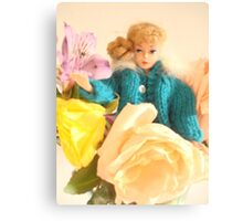 Vintage Barbie with Flowers Canvas Print