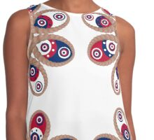 Red, White and Blue Foot Flowers Contrast Tank