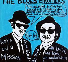 Blues Brothers Blues Folk Art by krusefolkart