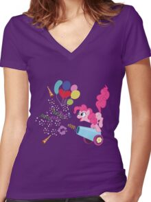 Pinkie Pie Cannon! Women's Fitted V-Neck T-Shirt