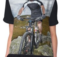Mountain biker on trails Chiffon Top