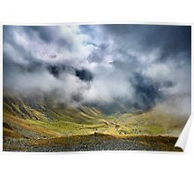 Mountains and clouds landscape Poster