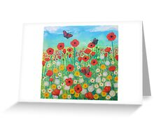 Peacocks and Poppies Greeting Card