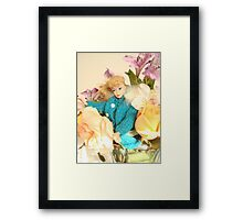 Vintage Barbie with Flowers Framed Print
