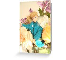 Vintage Barbie with Flowers Greeting Card