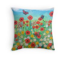 Peacocks and Poppies Throw Pillow