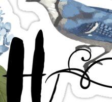 Bluebird Vintage Floral Initial H Sticker
