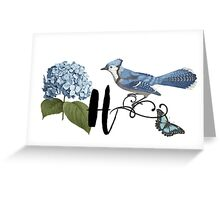 Bluebird Vintage Floral Initial H Greeting Card