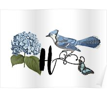 Bluebird Vintage Floral Initial H Poster