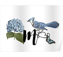 Bluebird Vintage Floral Initial M Poster