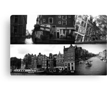 Photo collage Amsterdam 3 in black and white Canvas Print