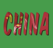 China Word With Flag Texture Kids Tee
