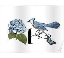 Bluebird Vintage Floral Initial I Poster