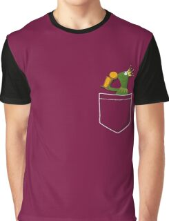 Pocket Frog Kissing Throphy Graphic T-Shirt